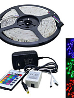 JIAWEN® Waterproof 5M 300X3528 SMD RGB LED Strip Light and 24Key Remote Controller and 2A EU Power Supply (AC110-240V)