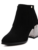 Women's Shoes Suede Chunky Heel Pointed Toe Boots Casual Black / Gray