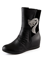 Women's Shoes Fleece Wedge Heel Wedges / Fashion Boots / Round Toe Boots Dress / Casual Black