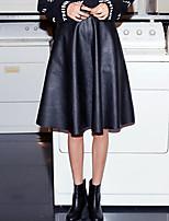 Women's Solid Black Skirts , Vintage Knee-length