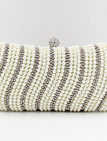 Women Satin Minaudiere Clutch / Evening Bag - White / Black / Almond