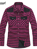 Lesmart Men With Velvet Warm Winter Fashion Lattice Long Sleeve Shirts