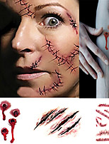 4 pcs Halloween Bite Marks Suture Needle Wound Party Tattoo Stickers Temporary Tattoos(1 set)