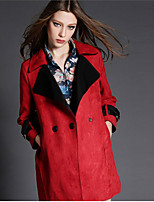 Women's Patchwork Red / Green / Gray Coat , Vintage / Casual Long Sleeve Cotton