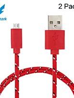 vecchio squalo ™ 2 pacchetti 1m 3 piedi di ricarica micro USB e sincronizzazione dati cavo in tessuto intrecciato per i dispositivi Android