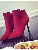 Women's Shoes Stiletto Heel Fashion Boots / Pointed Toe / Closed Toe Boots Party & Evening / Dress Black / Red