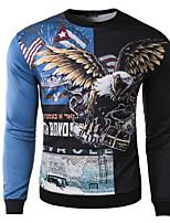Men's Casual/Daily Sweatshirt Print Round Neck Micro-elastic Cotton Long Sleeve