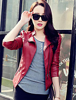 Women's  Large Size Slim Vintage Solid Red / Black Jackets , Casual Stand Long Sleeve