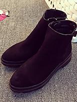 Zapatos de mujer - Tacón Bajo - Punta Redonda - Botas - Casual - Semicuero - Negro / Caqui