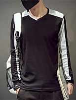 Men's Round Collar Stitching Fashion Shirt