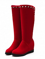 Women's Shoes  Wedge Heel Fashion Boots / Round Toe Boots Outdoor / Casual Black / Red