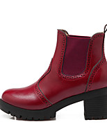 Women's Shoes Leatherette Low Heel Fashion Boots Boots Outdoor / Casual Black / Red / Gray