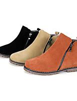 Calçados Femininos - Botas - Conforto / Botas Cano Curto / Arrendondado / Bico Fechado - Rasteiro - Preto / Marrom / Bege - Camursa -