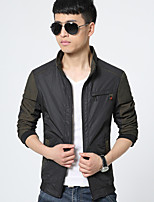 Men's Long Sleeve Jacket , Cotton Casual / Work / Formal / Plus Sizes Pure