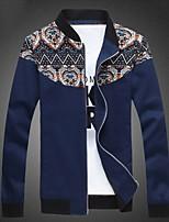 Men's Long Sleeve Jacket , Cotton Blend Casual Print