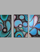 Hand-Painted Abstract Modern Oil Painting Canvas Deco Art Blue Brown Three Panels