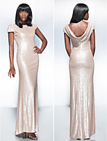 Formal Evening Dress - Champagne Sheath/Column Scoop Floor-length Sequined
