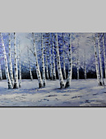 Hand-Painted Abstract Modern Oil Painting Canvas Deco Art Landscape Silver Birch Snow Winter one Panels