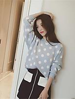 Women's Polka Dot Blue / Red Pullover , Vintage Long Sleeve