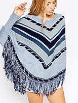 Women's Geometric Blue Pullover , Casual Long Sleeve