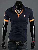 Men's Short Sleeve T-Shirt , Cotton Blend Casual Pure