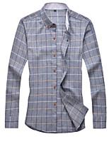 Men's Long Sleeve Shirt , Cotton Casual / Work / Formal / Plus Sizes Plaids & Checks