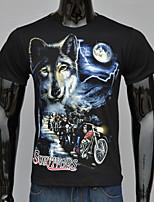 Masculino Camiseta Casual / Escritório / Formal / Esporte Estampado / Cor Solida Algodão Manga Curta Masculino