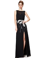 Formal Evening Dress - Black Sheath/Column Bateau Floor-length Chiffon