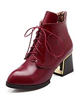 Scarpe Donna - Stivali - Ufficio e lavoro / Formale / Casual - A punta / Chiusa - Quadrato - Finta pelle - Nero / Marrone / Borgogna
