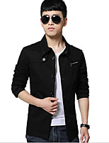 Men's Long Sleeve Jacket , Canvas Casual Pure