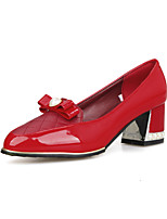 Women's Shoes PU Chunky Heel Comfort / Pointed Toe / Closed Toe Heels Office & Career / Casual Black / Red / White