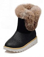 Women's Shoes Glitter Low Heel Snow Boots / Round Toe Boots Outdoor / Casual Black / Pink / Beige