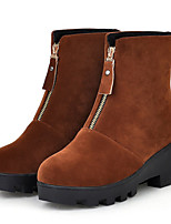 Women's Shoes Leatherette Low Heel Fashion Boots Boots Outdoor / Dress / Casual Black / Brown / Beige