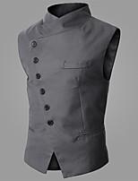 Men's Sleeveless Vest , Cotton Blend Casual Pure