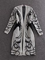 Women's Print Gray Cardigan , Casual / Cute Long Sleeve