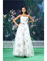 A-line Formal Evening Dress - White Floor-length Sweetheart Organza / Satin