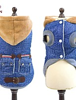 FUN OF PETS® Stylish Denim Coat with Leather Buckle  and Hoodie for Pets Dogs (Assorted  Colours)