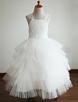 שמלה לנערת הפרחים  - שמלת נשף - עד לקרסול - ללא שרוולים - תחרה / טול