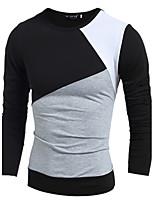 Men's Long Sleeve T-Shirt , Cotton Blend Casual / Work / Formal / Sport / Plus Sizes Striped / Plaids & Checks / Pure