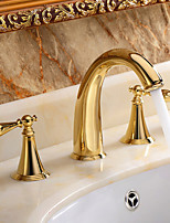 Brass Widespread Ti-PVD Golden Waterfall Roman Tub Sink Faucet Two Handle Three Holes Basin Vessel Tap Mixer