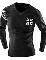 Hot Sale Men's Casual/Daily Simple Regular Cardigan / Gray Shirt Collar Long Sleeve Cotton Fall / Winter Medium Micro-elastic
