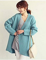 Women's Solid Blue / Pink Cardigan , Casual Long Sleeve