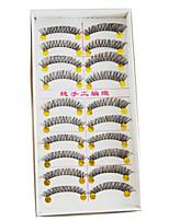 10 Pairs/box Makeup European Fiber Eyelash Brown Black Color Handmade Natural Long False Eyelashes