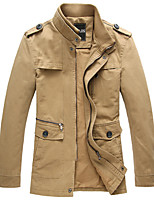 Men's Long Sleeve Jacket , Cotton Blend Casual / Work Pure