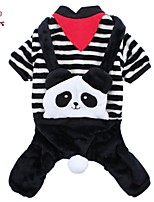 FUN OF PETS® Stripe Panda Overall Flannel Jumpsuits for Pets Dogs (Assorted Sizes)