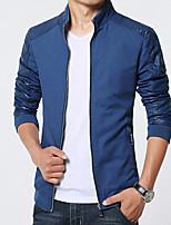 Men's Long Sleeve Jacket Cotton Casual / Plus Sizes Pure