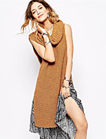 Women's Solid White / Brown Pullover , Casual Sleeveless