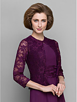 Women's Wrap Coats/Jackets 3/4-Length Sleeve Lace Grape Wedding / Party/Evening Scoop 39cm Lace / Ruffles Hidden Clasp