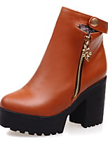 Chaussures Femme - Décontracté - Noir / Marron / Rouge / Blanc - Gros Talon - Bout Arrondi - Bottes - Similicuir