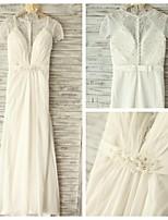 A-line Wedding Dress - Ivory Floor-length V-neck Chiffon / Lace